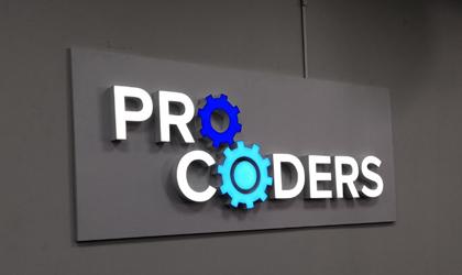 Світлове лого на стіну для компанії Pro Coders